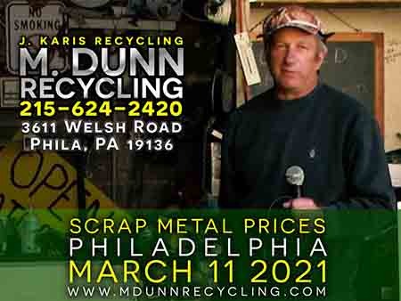 Philadelphia Scrap Metal Prices for March 17, 2021 Video Blog for M Dunn Recycling. It's time to clean out the clutter of your home or business.You may have common items you are unaware that are recyclable This week we have five common items adding up to $56 such as old extension cord, brass fittings, stainless steel kitchen sink, ceiling fan and copper aluminum air conditioner coils.J Karis Recycling formerly M Dunn Recycling Center located at 3611 Welsh Road Philadelphia PA 19136
